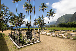 Hawaii: Molokai, church and gravesite at Kalawao of leper priest, Father Damien de Veuster.Photo himolo165-72269.Photo copyright Lee Foster, www.fostertravel.com, lee@fostertravel.com, 510-549-2202