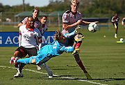 Feb 1, 2013;  Bradenton, FL, USA; Malmo FF Filip Helander (15) attempts to score as D.C. United goalkeeper Andrew Dykstra (50) attempts to make the stop during the first half at IMG Academy.