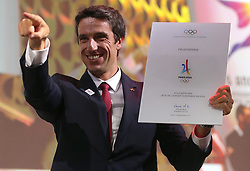 LIMA, Sept. 14, 2017  Tony Estanguet, Co-chairman of Paris 2024, celebrates after announcement during the presentation and announcement ceremony of the 2024 and 2028 Summer Olympic Games at the 131st IOC session in Lima, Peru, on Sept. 13, 2017. The IOC makes historic decision by simultaneously awarding Olympic Games 2024 to Paris and 2028 to Los Angeles on wednesday. (Credit Image: © Li Ming/Xinhua via ZUMA Wire)