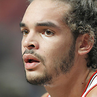 24 March 2012: Chicago Bulls center Joakim Noah (13) is seen on the bench during the Chicago Bulls 102-101 victory in overtime over the Toronto Raptors at the United Center, Chicago, Illinois, USA.