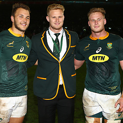 Andre Esterhuizen with Dan du Preez and Jean-Luc du Preez of South Africa during the 2018 Castle Lager Incoming Series 3rd Test match between South Africa and England at Newlands Rugby Stadium,Cape Town,South Africa. 23,06,2018 Photo by (Steve Haag JMP)