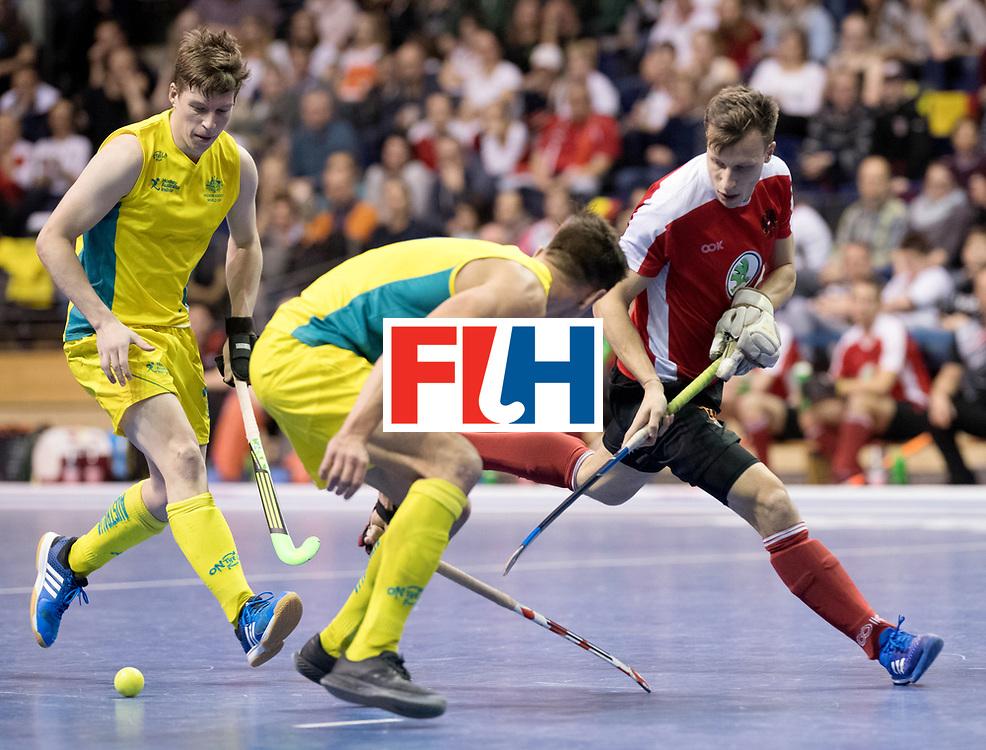 BERLIN - Indoor Hockey World Cup<br /> Semi-final 2: Australia - Austria<br /> foto: Dominic Uher.<br /> WORLDSPORTPICS COPYRIGHT FRANK UIJLENBROEK