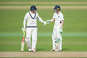 Sam Robson and Nick Gubbins of Middlesex during the Specsavers County Champ Div 1 match between Hampshire County Cricket Club and Middlesex County Cricket Club at the Ageas Bowl, Southampton, United Kingdom on 14 April 2017. Photo by David Vokes.