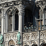 The Maison du Roi (King's House) or Broodhuis (Bread House) on the northeast side of Grand Place (La Grand-Place), a UNESCO World Heritage Site in central Brussels, Belgium. Lined with ornate, historic buildings, the cobblestone square is the primary tourist attraction in Brussels. The Maison du Roi now houses the Museum of the City of Brussels.