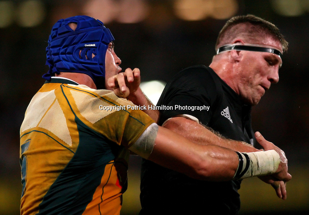 Nathan Sharpe & Brad Thorn.All Blacks v Australia Tri Nations Rugby Union Test Match. Suncorp Stadium ,Brisbane. Australia,Saturday 13 September 2008 .