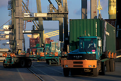 Truck transporting a shipping container at the Port of Houston
