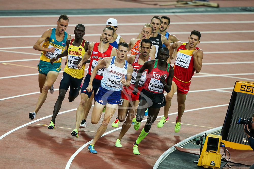 London, August 10 2017 . Great Britain's Chris O'Hare leads the pack in the Men's 1500m qualifying on day seven of the IAAF London 2017 world Championships at the London Stadium. © Paul Davey.