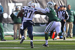 Dec 23, 2012; East Rutherford, NJ, USA; San Diego Chargers wide receiver Micheal Spurlock (87) returns a punt for a touchdown during the first half at MetLIfe Stadium.