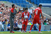 Seville Manager Unai Emery issues instructiosn from the touch-line during the Pre-Season Friendly match between Brighton and Hove Albion and Sevilla at the American Express Community Stadium, Brighton and Hove, England on 2 August 2015. Photo by Bennett Dean.