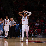 05 December 2018: San Diego State Aztecs guard Devin Watson (0) walks away in frustration after a foul call against the Aztecs late in the fourth quarter. The Aztecs lost to the Toreros 73-61 at Viejas Arena.