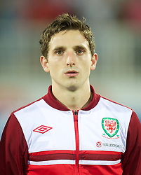 NOVI SAD, SERBIA - Tuesday, September 11, 2012: Wales' Joe Allen lines-up before the 2014 FIFA World Cup Brazil Qualifying Group A match against Serbia at the Karadorde Stadium. (Pic by David Rawcliffe/Propaganda)