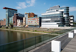 Modern architecture at Medienhafen or Media Harbour property development in Düsseldorf Germany