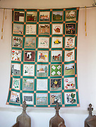 Place identity illustrated by quilted images of village of Newbourne, Suffolk, England