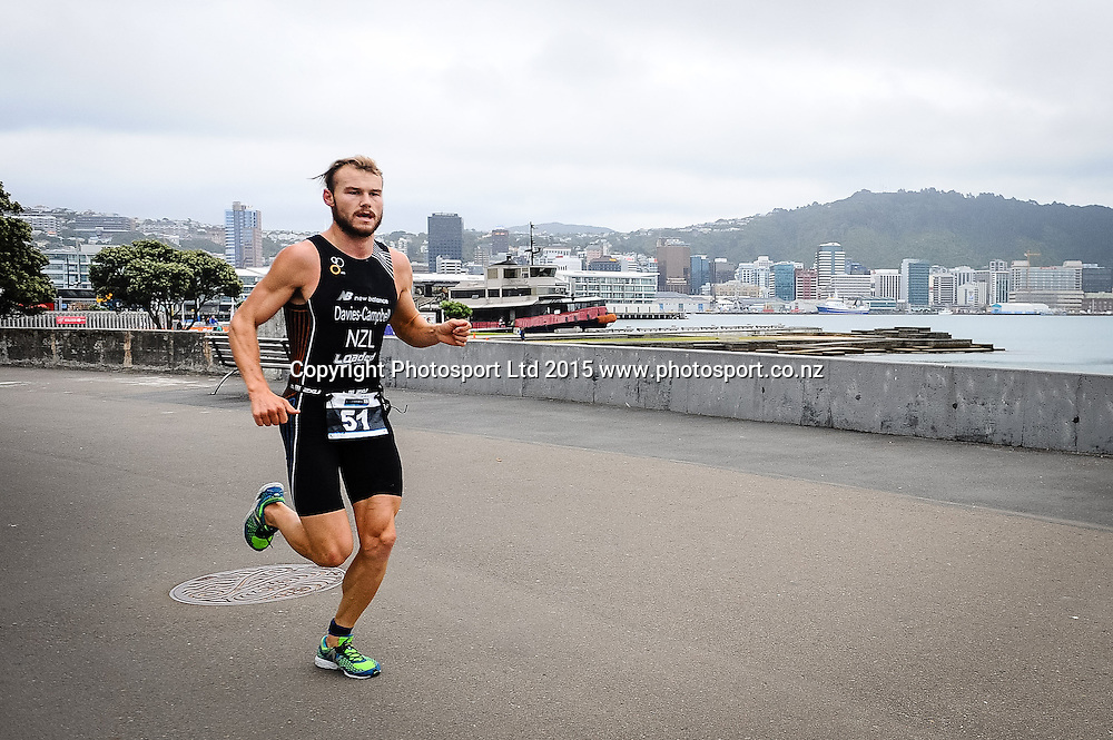 Race leader Jai Davies-Campbell heads out on the run during the Sovereign Tri Series, Waterfront, Wellington, New Zealand. Saturday 14 March 2015. Copyright Photo: Mark Tantrum/www.Photosport.co.nz