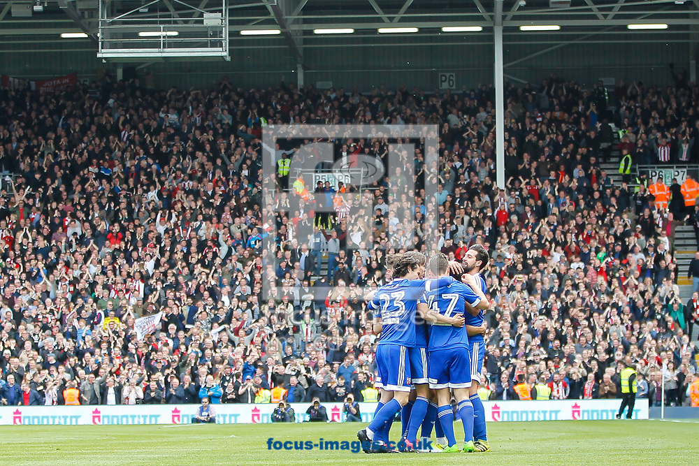 Nico Yennaris of Brentford celebrates scoring the equaliser during the Sky Bet Championship match between Fulham and Brentford at Craven Cottage, London<br /> Picture by Mark D Fuller/Focus Images Ltd +44 7774 216216<br /> 29/04/2017