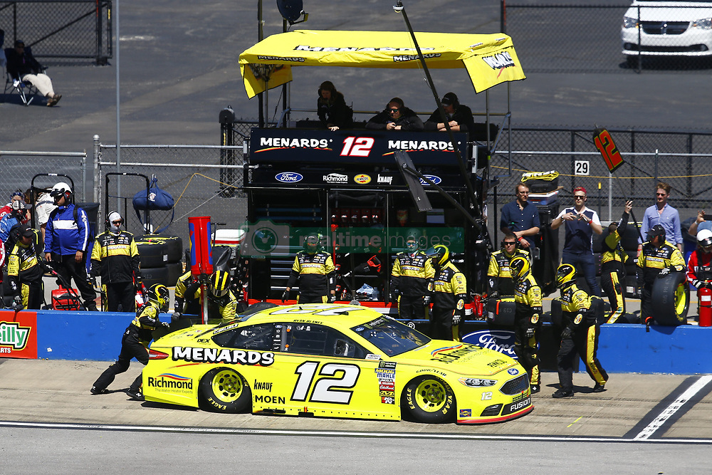 April 29, 2018 - Talladega, Alabama, United States of America - Ryan Blaney (12) brings his car down pit road for service during the GEICO 500 at Talladega Superspeedway in Talladega, Alabama. (Credit Image: © Chris Owens Asp Inc/ASP via ZUMA Wire)