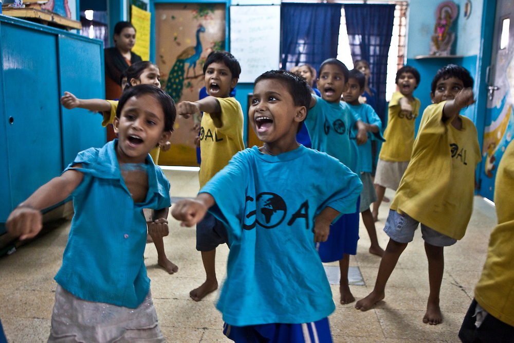 A karate class at a CINI halfway house in Calcutta, India..Child In Need Institute (CINI) run halfway houses for vulnerable street children from as young as 5 years old with the aim of reconnecting the children with their families. There are many fun activities, such as karate, dance and art to support and entertain the children.