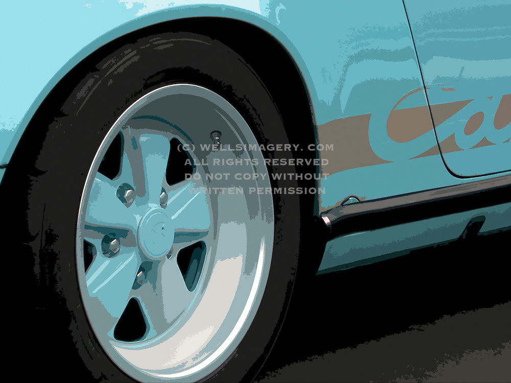 Image of a blue 1974 Porsche 911 Carrera wheel detail, Monterey, California, America west coast