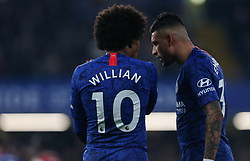 Willian of Chelsea and Emerson Palmieri of Chelsea discuss tactics - Mandatory by-line: Arron Gent/JMP - 21/01/2020 - FOOTBALL - Stamford Bridge - London, England - Chelsea v Arsenal - Premier League