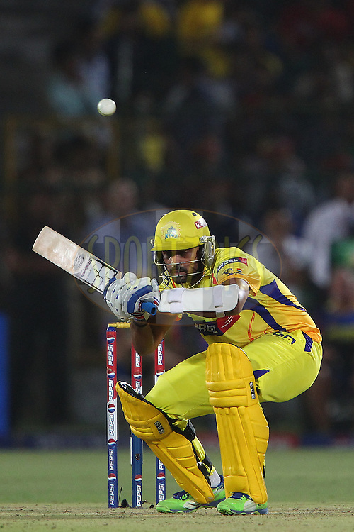 Murali Vijay avoids a short ball during match 61 of the Pepsi Indian Premier League ( IPL) 2013  between The Rajasthan Royals and the Chennai SUperkings held at the Sawai Mansingh Stadium in Jaipur on the 12th May 2013..Photo by Ron Gaunt-IPL-SPORTZPICS ..Use of this image is subject to the terms and conditions as outlined by the BCCI. These terms can be found by following this link:..http://www.sportzpics.co.za/image/I0000SoRagM2cIEc
