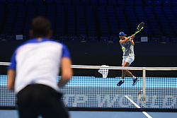 November 10, 2017 - London, England, United Kingdom - Rafael Nadal of Spain (R) and Marin Cilic of Croatia are pictured during a training session prior to the Nitto ATP World Tour Finals at O2 Arena, London on November 10, 2017. (Credit Image: © Alberto Pezzali/NurPhoto via ZUMA Press)