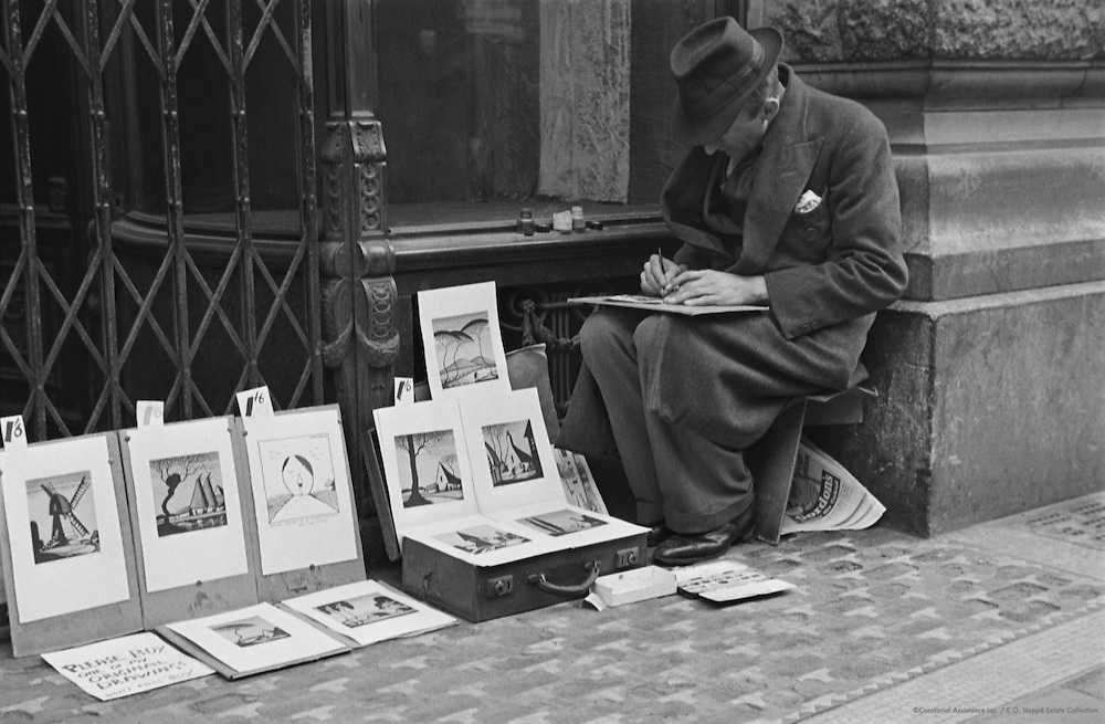 Street Artist at Leicester Square, London, 1938