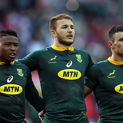 Aphiwe Dyantyi with Andre Esterhuizen and Jesse Kriel of South Africa during the 2018 Castle Lager Incoming Series 3rd Test match between South Africa and England at Newlands Rugby Stadium,Cape Town,South Africa. 23,06,2018 Photo by (Steve Haag JMP)