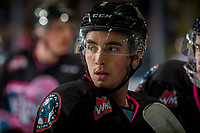 KELOWNA, BC - NOVEMBER 03: Liam Kindree #26 of the Kelowna Rockets stands at the bench against the Brandon Wheat Kings  at Prospera Place on November 3, 2018 in Kelowna, Canada. (Photo by Marissa Baecker/Getty Images) ***Local Caption***Liam Kindree;