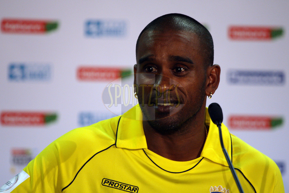 Dimitri Mascarenhas during the press conference after the 3rd Qualifying match of the Karbonn Smart CLT20 South Africa between Auckland Aces and Hampshire held at Supersport Park Stadium in Centurion, South Africa on the 10th October 2012. Photo by Jacques Rossouw/SPORTZPICS/CLT20
