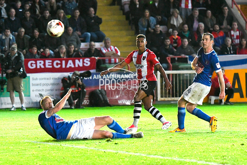 Ollie Watkins (14) of Exeter City scores a goal to give a 2-0 lead to the home team during the EFL Sky Bet League 2 play off second leg match between Exeter City and Carlisle United at St James' Park, Exeter, England on 18 May 2017. Photo by Graham Hunt.