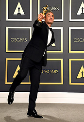 Taika Waititi with his Best Adapted Screenplay Oscar for Jojo Rabbit in the press room at the 92nd Academy Awards held at the Dolby Theatre in Hollywood, Los Angeles, USA.