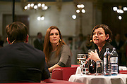 "Vienna, Austria. Cocktail reception hosted by Mayor Michael Häupl at City Hall for international scientists and researchers living and working in Vienna.<br /> Podium discussion ""The Experiences of International Scientists and Researchers Living and Working in Vienna - Challenges and rewards"".<br /> From l.: Prof. Katharine Sarikakis, Media Organisation and Governace, University of Vienna; Giulio Superti-Furga, Scientific Director of the CeMM Research Center for Molecular Medicine of the Austrian Academy of Science; Renata Schmidtkunz, TV journalist."