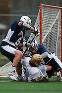 May 1, 2009:    #5 Leahy, Crandon of Quinnipiac, #3 Dan Gibson of Notre Dame  and #13 Benzing, Kevin of Quinnipiac  in action during the NCAA Lacrosse game between Notre Dame and Quinnipiac at GWLL Tournament in Birmingham, Michigan. (Credit Image: Rick Osentoski/Cal Sport Media)