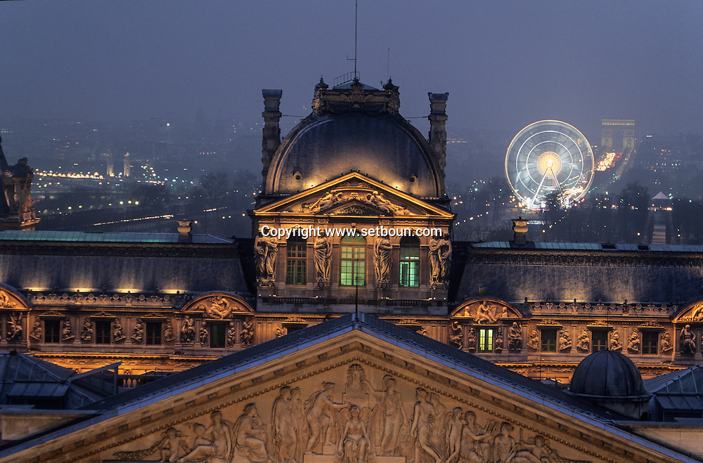 France. Paris. 1st district. Elevated view. Cour Carree Facade at Musee du Louvre  the Louvre museum