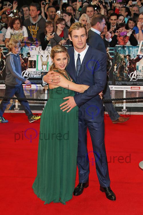 LONDON - APRIL 19: Elsa Pataky; Chris Hemsworth attend the European Film Premiere of 'Avengers Assemble' at the Westfield Shopping Centre, White City, London, UK. April 19, 2012. (Photo by Richard Goldschmidt)