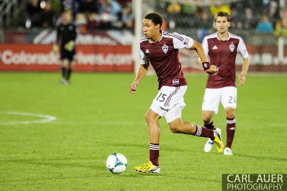 September 14th, 2013 -  Colorado Rapids defender Chris Klute (15) dribbles the ball up the pitch in the first half of the MLS Soccer game between FC Dallas and the Colorado Rapids at Dick's Sporting Goods Park in Commerce City, CO