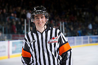 KELOWNA, CANADA - JANUARY 11:  Referee Jeff Ingram skates off the ice as the Tri City Americans visit the Kelowna Rockets on January 11, 2013 at Prospera Place in Kelowna, British Columbia, Canada (Photo by Marissa Baecker/Shoot the Breeze) *** Local Caption ***