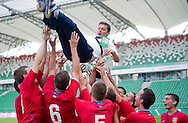 SO Serbia (red) celebrate their victory in the 2013 Special Olympics European Unified Football Tournament in Warsaw, Poland.<br /> <br /> Poland, Warsaw, June 08, 2012<br /> <br /> Picture also available in RAW (NEF) or TIFF format on special request.<br /> <br /> For editorial use only. Any commercial or promotional use requires permission.<br /> <br /> <br /> Mandatory credit:<br /> Photo by © Adam Nurkiewicz / Mediasport