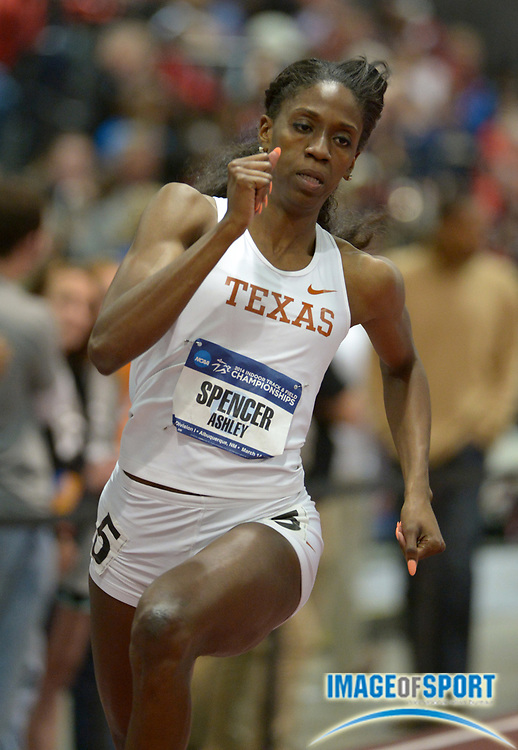 Mar 14, 2014; Albuquerque, NM, USA; Ashley Spencer of Texas runs 52.12 in a womens 400m heat in the 2014 NCAA Indoor Championships at Albuquerque Convention Center.
