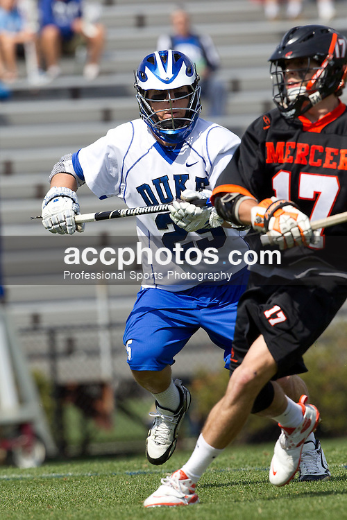 DURHAM, NC - MARCH 13: Josh Offit #25 of the Duke Blue Devils while playing the the Mercer Bears on March 13, 2011 at Koskinen Stadium in Durham, North Carolina. Duke won 18-5.
