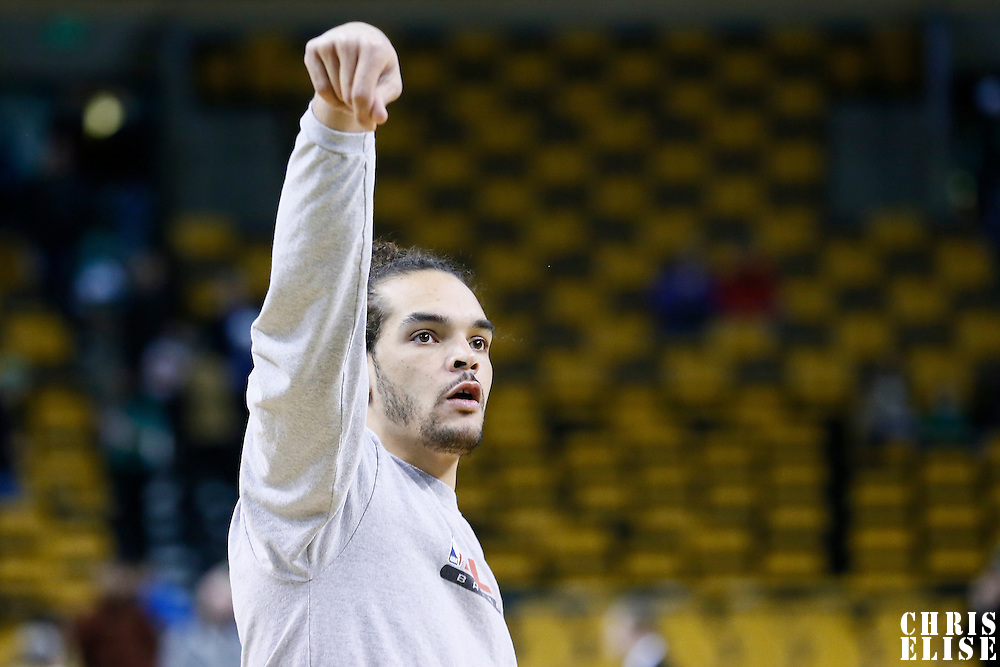 18 January 2013: Chicago Bulls center Joakim Noah (13) warms up prior to the Chicago Bulls 100-99 overtime victory over the Boston Celtics at the TD Garden, Boston, Massachusetts, USA.