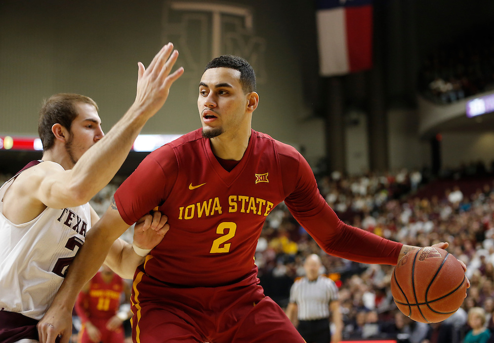 Jan 30, 2016; College Station, TX, USA;  Iowa State Cyclones forward Abdel Nader (2) dribbles against the Texas A&M Aggies guard Alex Caruso (21) at Reed Arena. A&M won 72 to 62. Mandatory Credit: Thomas B. Shea-USA TODAY Sports