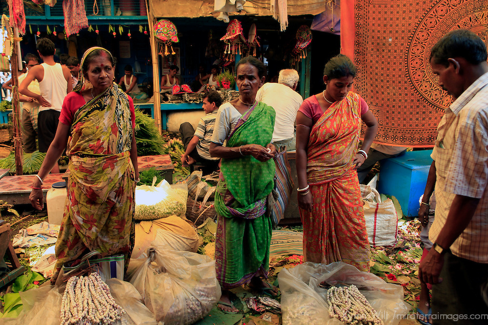 Asia, India, Calcutta. Women in the flower market in Calcutta.