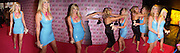 Debbie Flett in blue dress, Lynette Baumont in black dress greetin her, U.K premiere of Legally Blonde 2. Warner Village Leicester Sq. 23 July 2003. © Copyright Photograph by Dafydd Jones 66 Stockwell Park Rd. London SW9 0DA Tel 020 7733 0108 www.dafjones.com