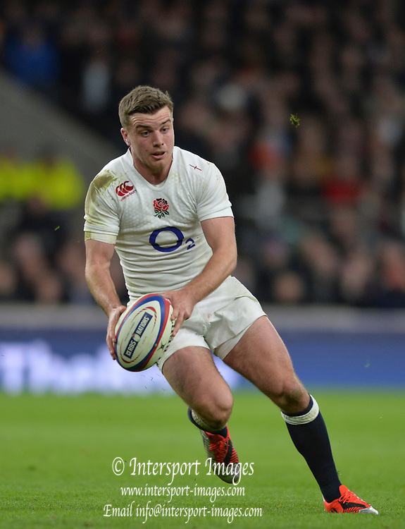 Twickenham, Great Britain, George FORD, during the Six Nations Rugby England vs France, played at the RFU Stadium, Twickenham, ENGLAND. <br /> <br /> Saturday   21/03/2015<br /> <br /> [Mandatory Credit; Peter Spurrier/Intersport-images]