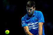 Novak Djokovic of Serbia in action  during the Nitto ATP Finals at the O2 Arena, London, United Kingdom on 14 November 2019.
