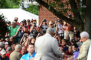 COOPERSTOWN, NY - JULY 25: Fans take photos of Hall of Famer Hank Aaron during the Parade of Legends down Main Street on July 25, 2015 in Cooperstown, NY. (Photo by Jennifer Stewart/Arizona Diamondbacks/Getty Images)