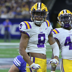 Sep 2, 2017; New Orleans, LA, USA; LSU Tigers linebacker Patrick Queen (8) and linebacker Devin White (40) celebrate a defensive stop against the Brigham Young Cougars during the first quarter of the AdvoCare Texas Kickoff game at the Mercedes-Benz Superdome. Mandatory Credit: Derick E. Hingle-USA TODAY Sports