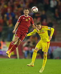 BRUSSELS, BELGIUM - Sunday, November 16, 2014: Belgium's Eden Hazard in action against Wales' Chris Gunter during the UEFA Euro 2016 Qualifying Group B game at the King Baudouin [Heysel] Stadium. (Pic by David Rawcliffe/Propaganda)