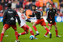 LIVERPOOL, ENGLAND - Saturday, March 8, 2008: Liverpool's Lucas Levia, Jermaine Pennant and Yossi Benayoun warm up before the Premiership match against Newcastle United at Anfield. (Photo by David Rawcliffe/Propaganda)